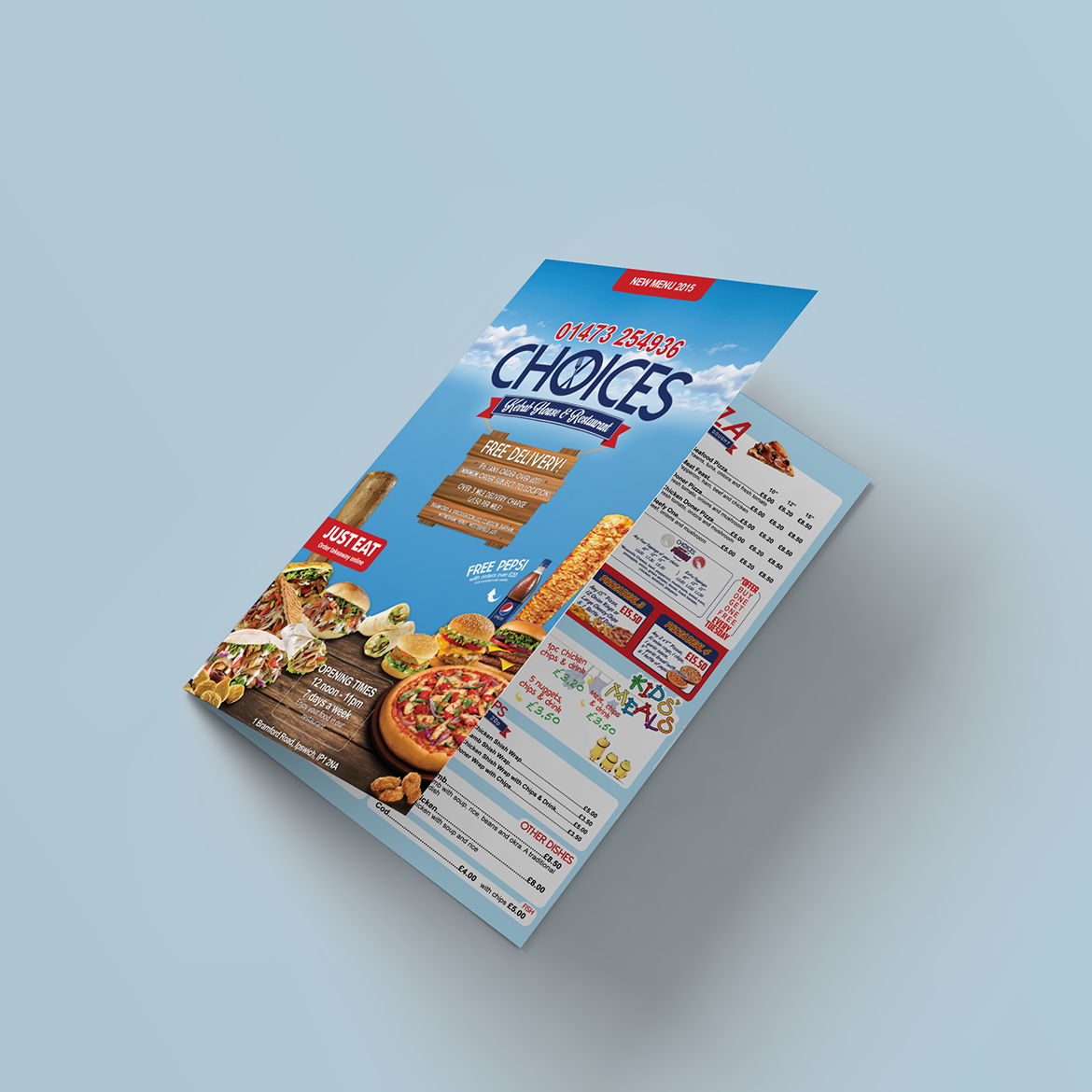 Choices Kebab House menu design